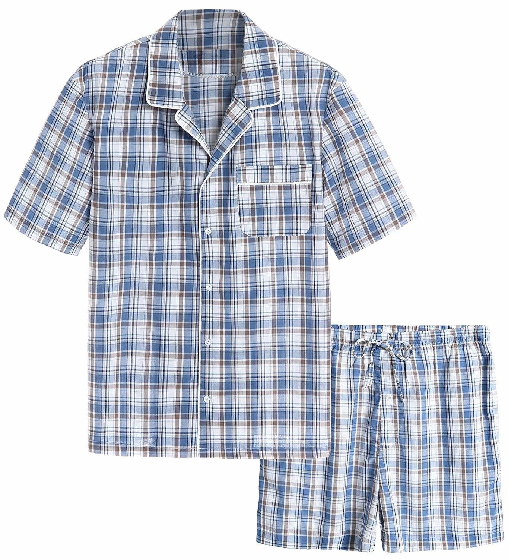 The blue and tan pajama set