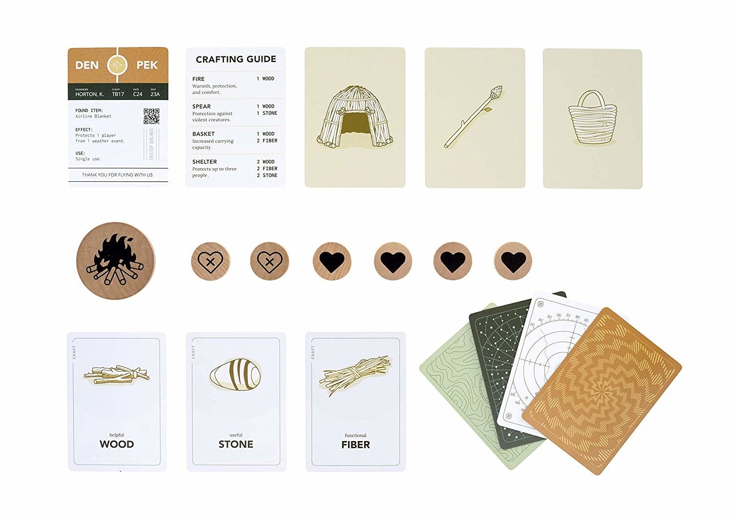 cards and coins from the game