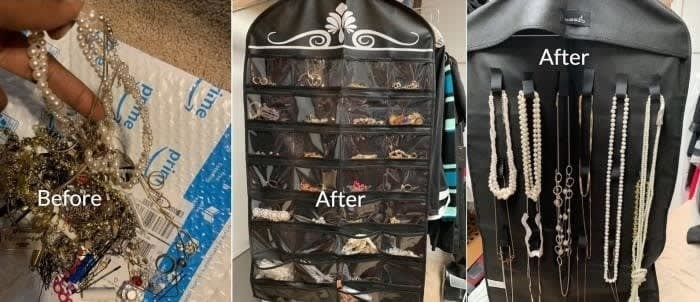 Reviewer's before-and-after picture of tangled necklaces and then organized with holder