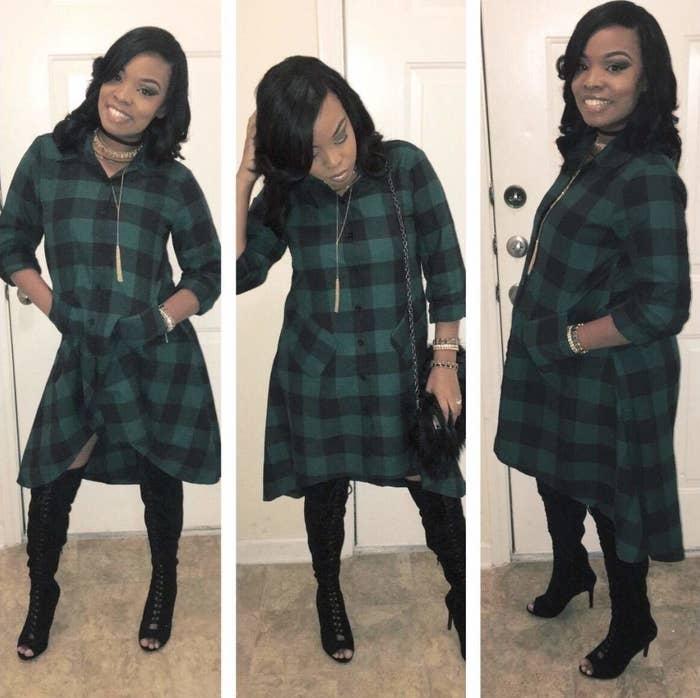 Reviewer wearing green and black plaid dress