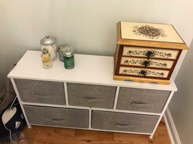 a reviewer's photo of the dresser in use