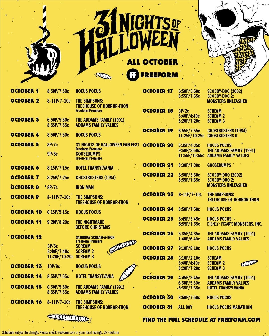 image regarding Abc Family 25 Days of Christmas Printable Schedule called 31 Evenings Of Halloween\