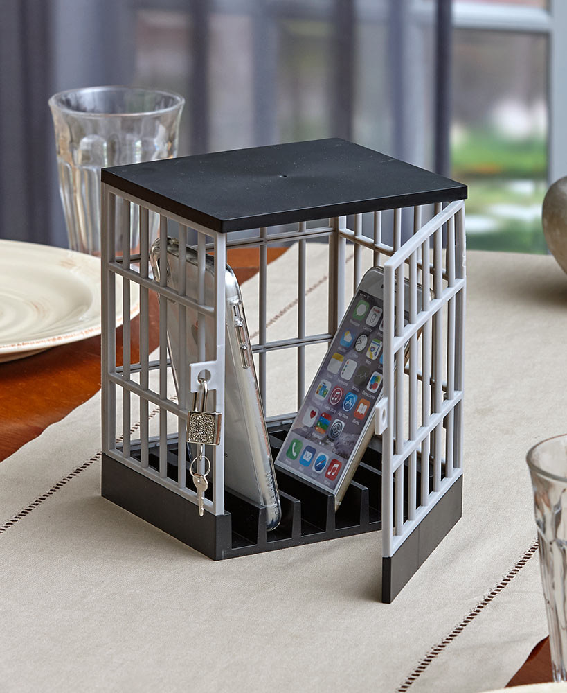 A rectangular box with a lock and key that's designed to look like a prison cell with bars al around it. There are slots on the bottom to hold your thin electronics upright.
