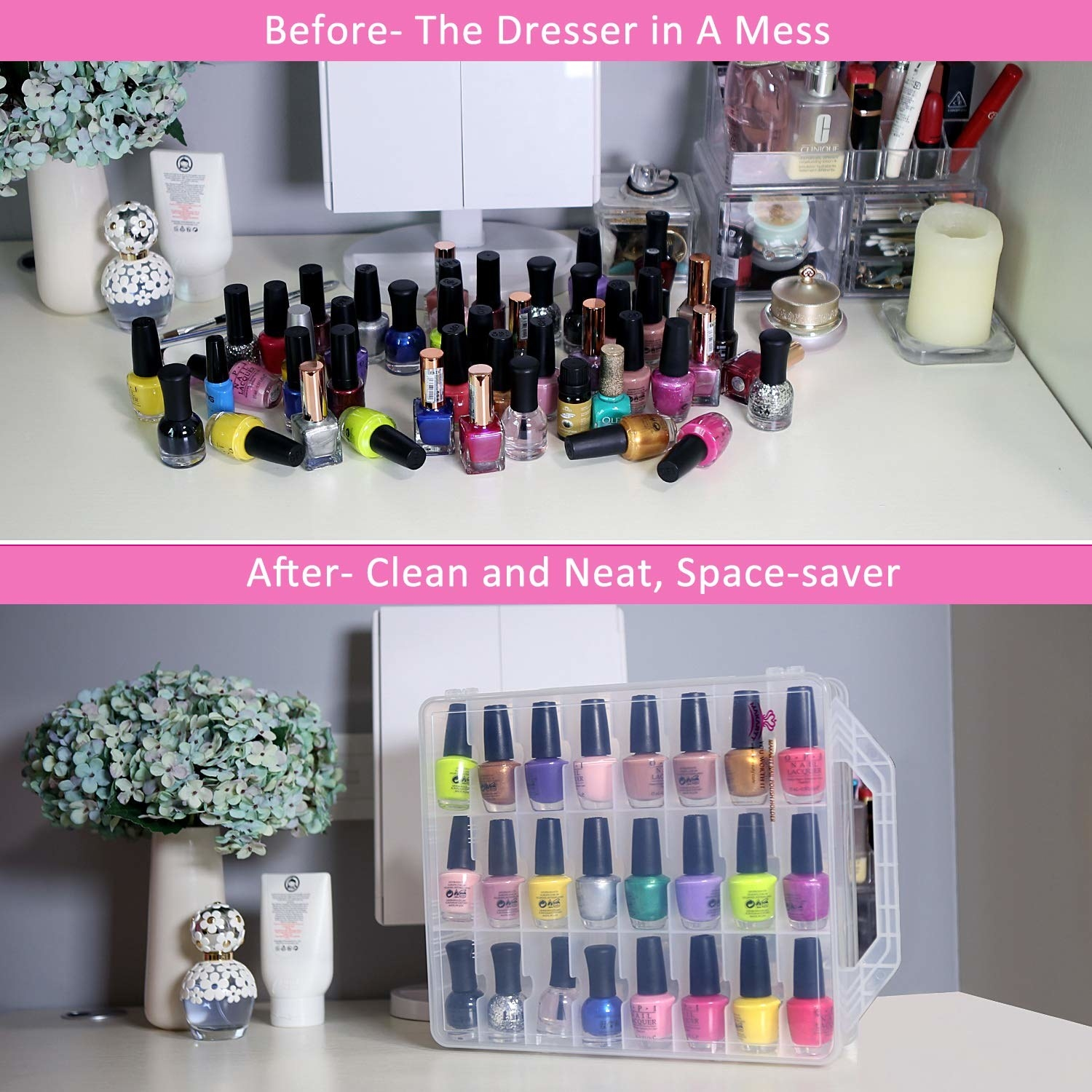 before pic of cluttered nail polish bottles and after of them neatly filed away in this organizer