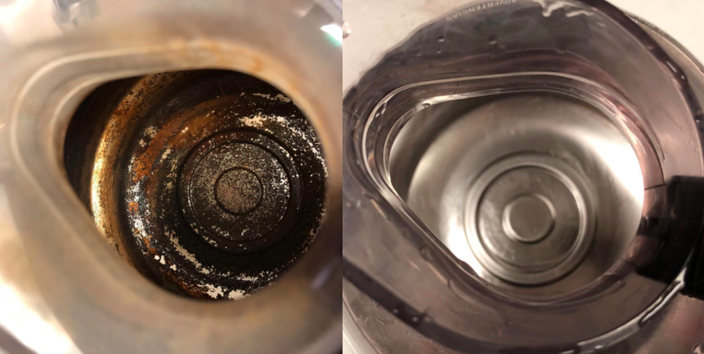 A before and after customer review photo of their waterbottle