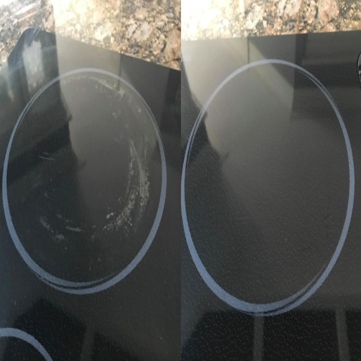 A before and after customer review photo of their cooktop