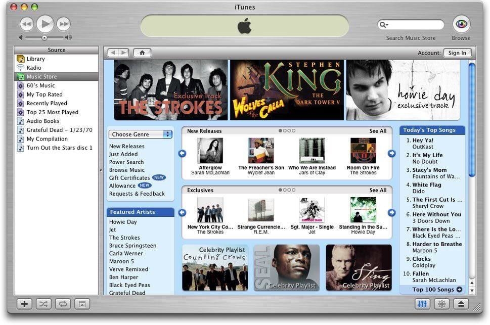 An iTunes page