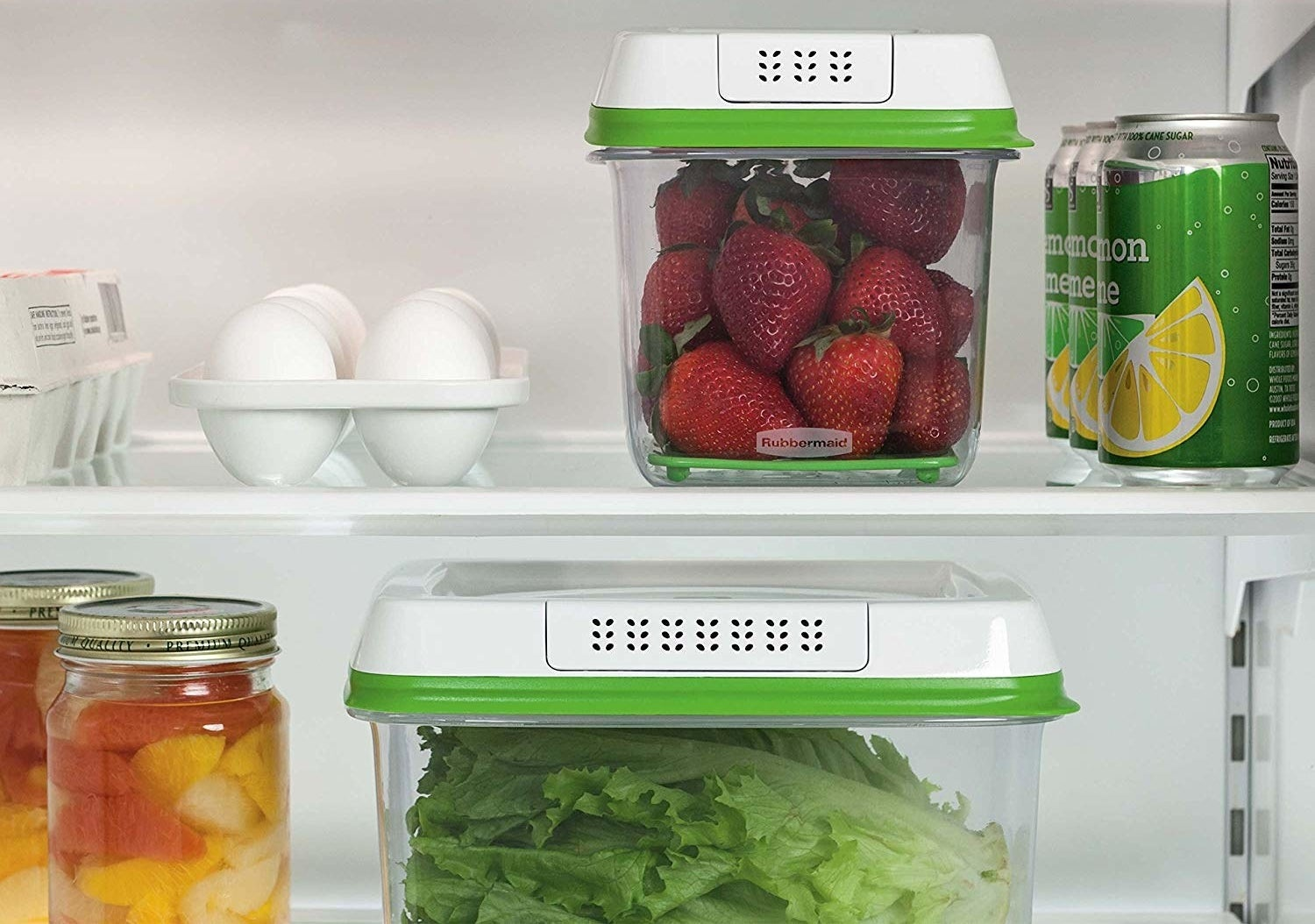 Two food saver containers in different sizes in a fridge.