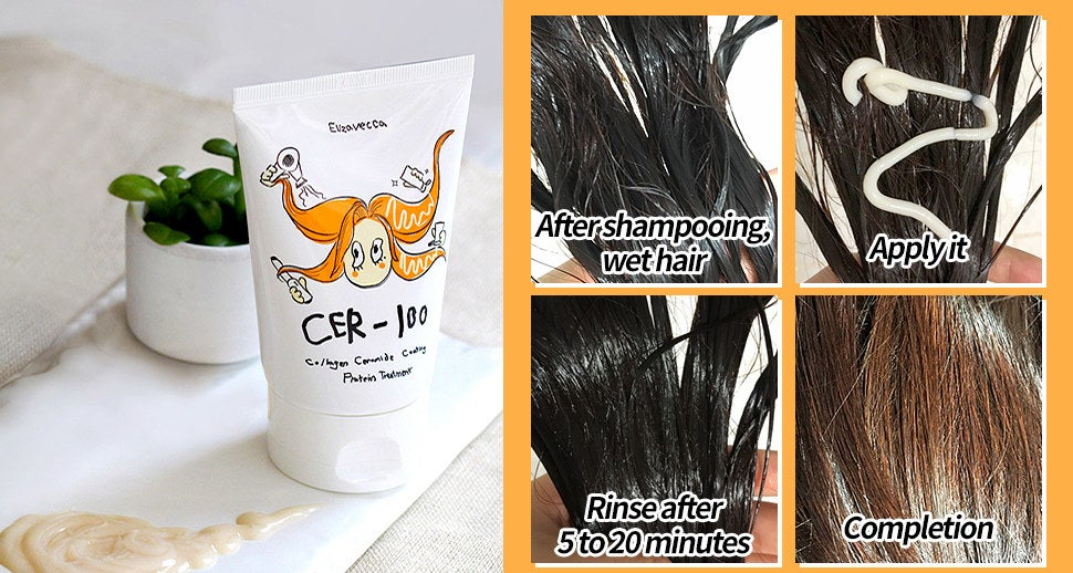 A series of before and after photos showing the application process of the hair protein treatment.