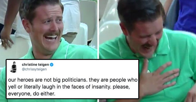 I'm Completely Obsessed With This Guy Laughing Hysterically At Anti-Immigration Protesters