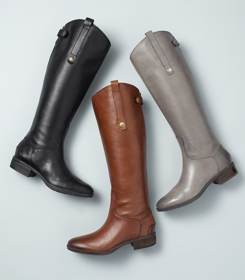 three boots. The boot colors from left to right: black, brown, and gray