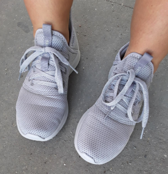 Reviewer wearing Adidas Cloudfoam Pures