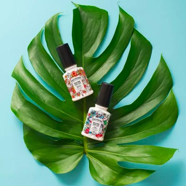 Sprays on palm leaf