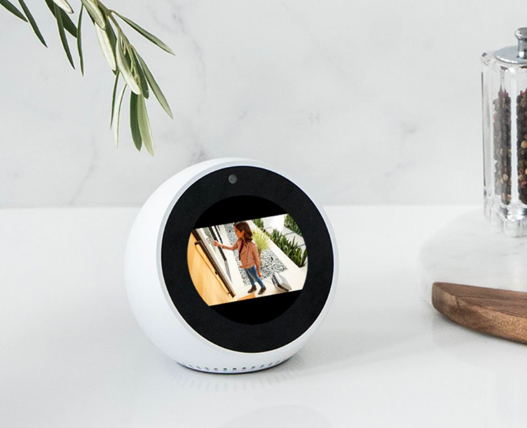 Round eco with camera showing person at doorbell outside
