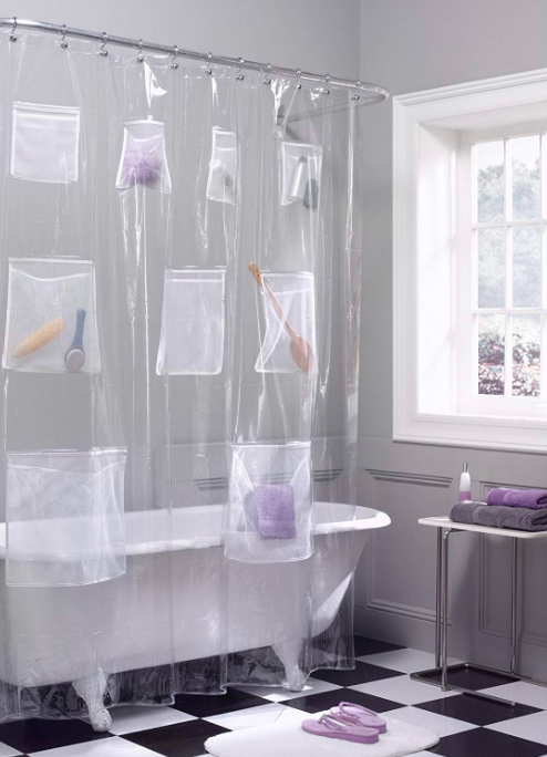 Clear shower curtain with nine mesh pockets