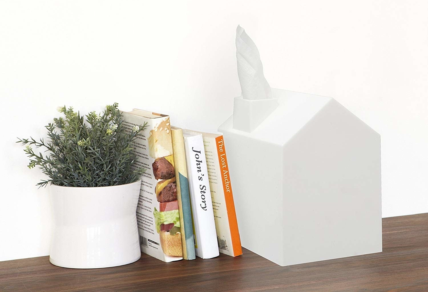 Solid white tissue box cover with hole for tissues that looks like smoke coming out of a chimney