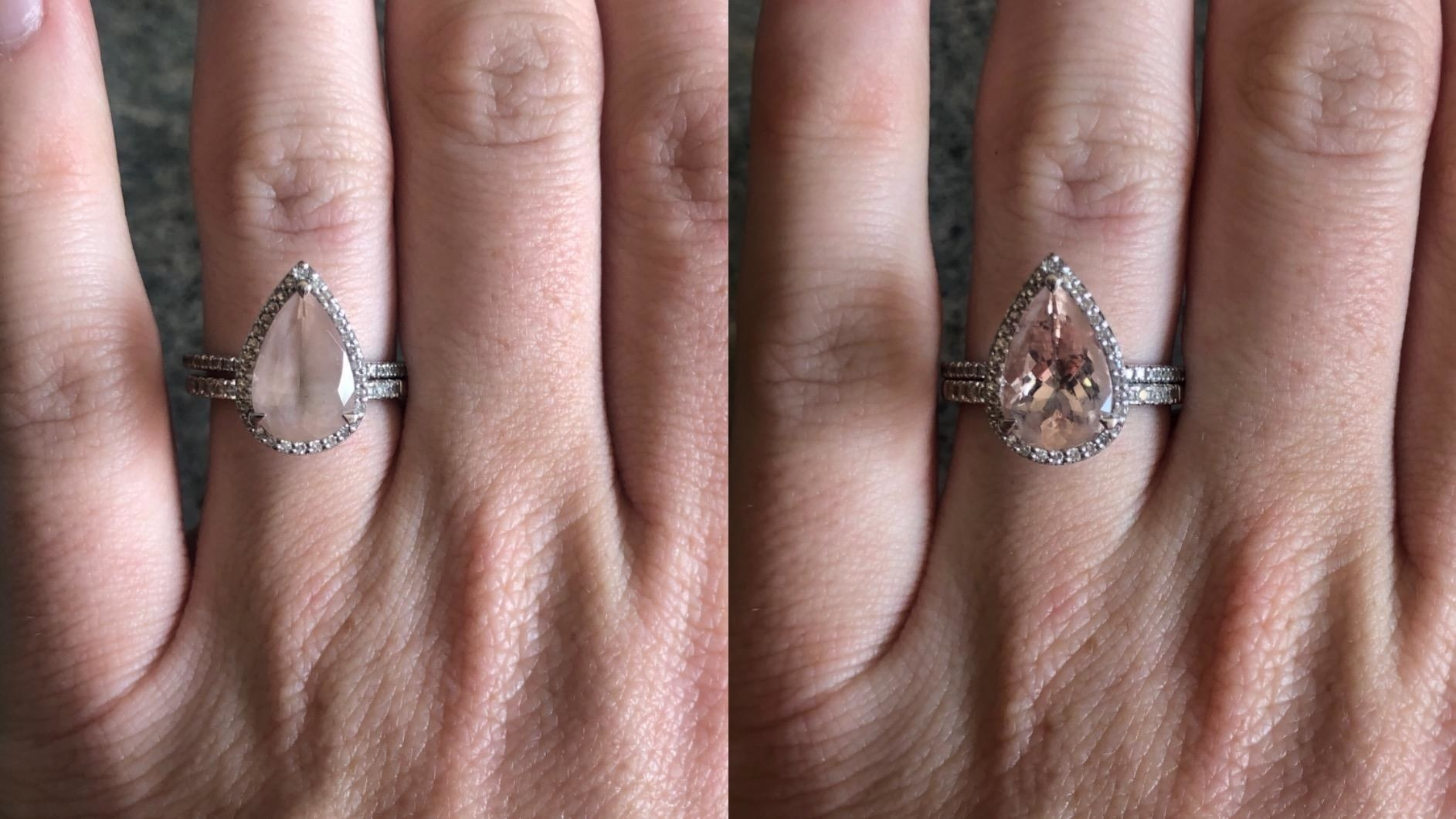 on the left a reviewer's gemstone ring looking cloudy, on the right the same ring looking clear and clean