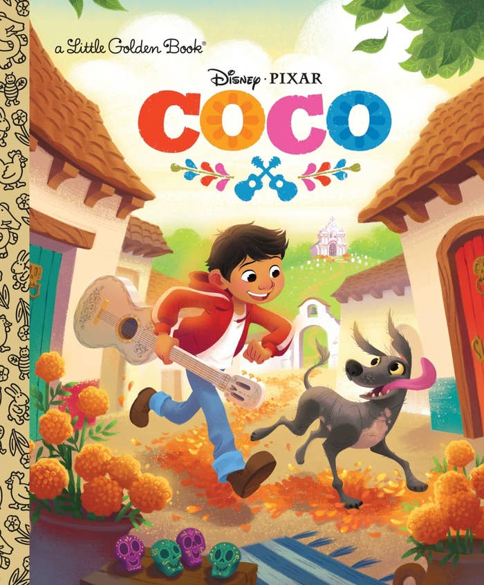the cover of the book showing miguel and dante running through town