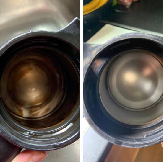 A before-and after photo of a reviewer's mug. On the left, the mug with the inside very stained and tarnished. On the right, the same mug with a shiny, clean silver interior
