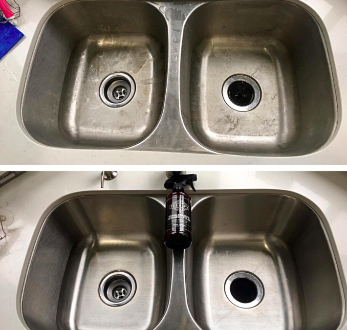 reviewer before and after photo of sink looking dirty on top but clean on bottom