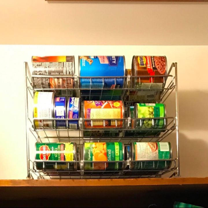 chrome three-shelf organizer in a reviewer's pantry