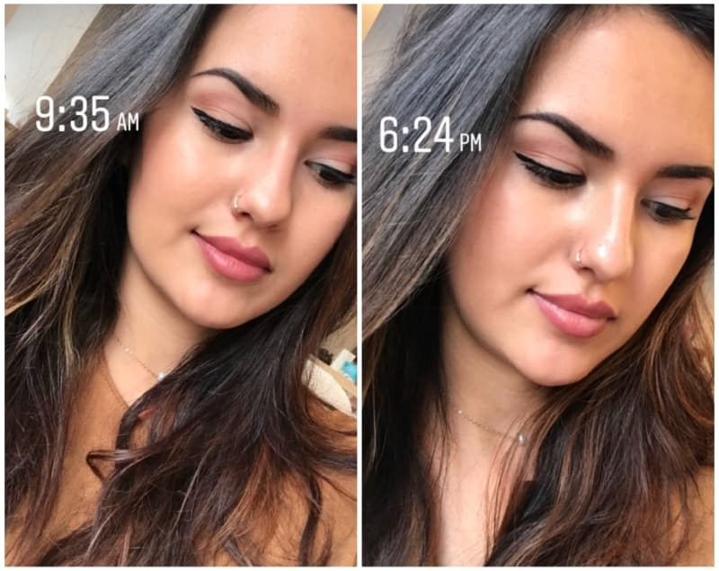 Before/after image of BuzzFeed editor Kayla wearing the primer. The after image (9 hours of wear time) shows eyeshadow still in place with no creasing.