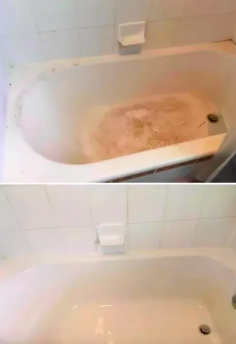 A reviewer's before-and-after with brown gunk-covered tile and bathtub scrubbed clean and white after use