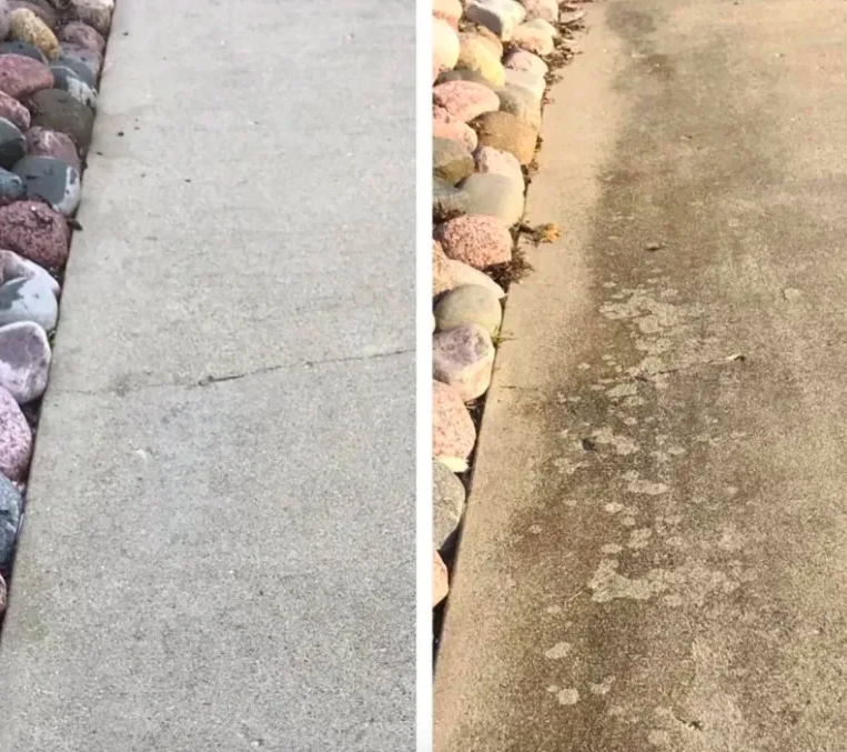 Reviewer's sidewalk oil free and clean after use and covered in dark tire marks and oil spots before use
