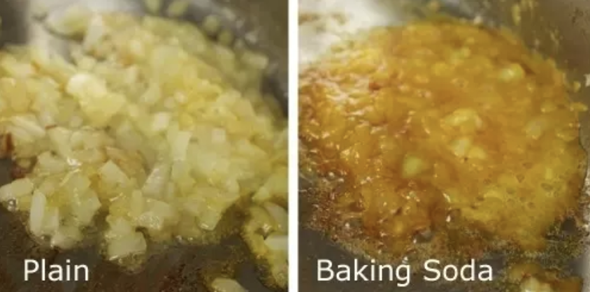 A before-and-after shot of raw onions and caramelized onions