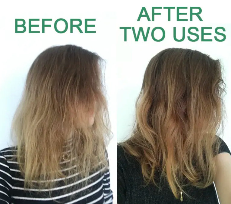 BuzzFeed editor Bek O'Connell with hair dry before use and smooth and full after use