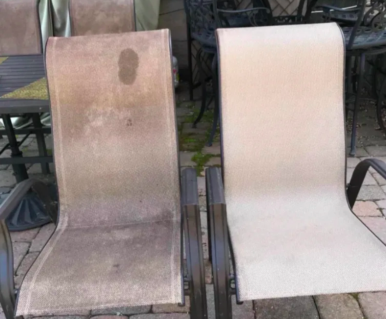 A customer review photo showing their outdoor chairs cleaned with and without the stain remover