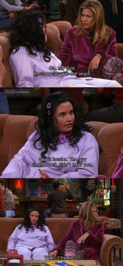 Monica in a fat suit while talking to Rachel in Central Perk