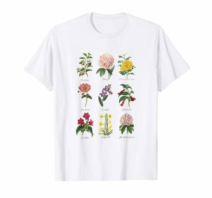 The white tee with nine illustrated plants with their names