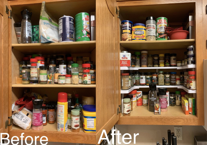 reviewer photo showing before using the spice shelf with the cabinet a mess and then after all nice and organized so you can see all the spices