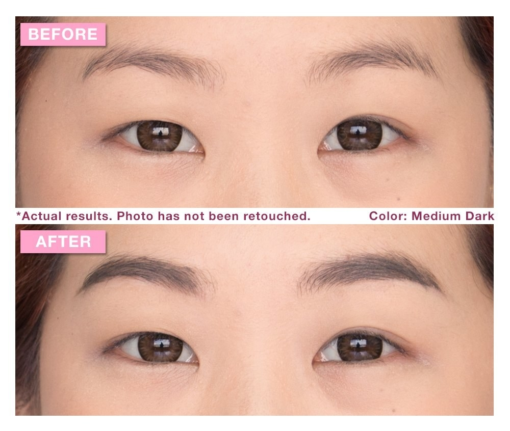 "on top labeled ""before"" a model's eyes with ruffled somewhat thin brows, on the bottom labeled ""after"" the same model with darker, more in-place brow hairs"