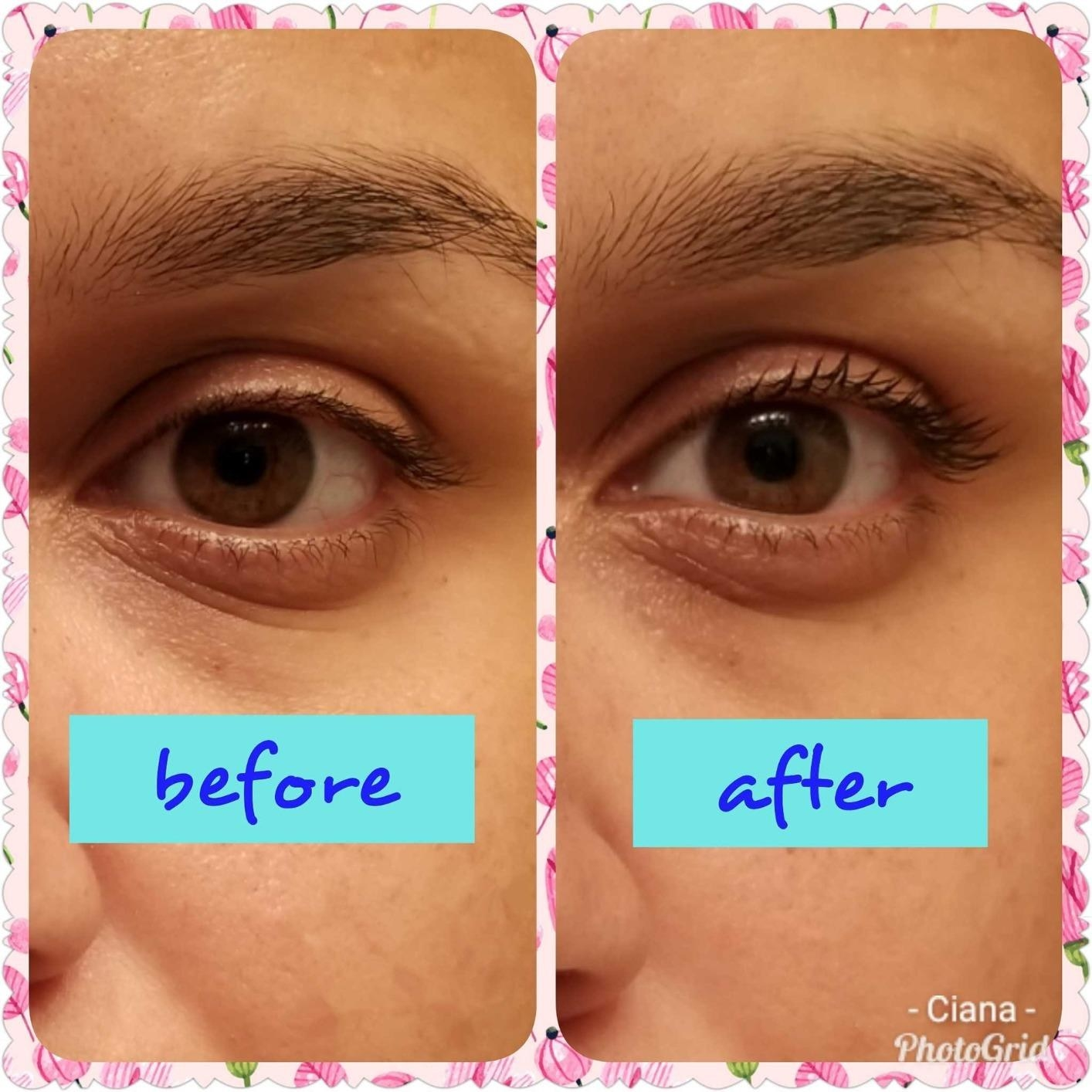 "ont he left labeled ""before"" a reviewer with no mascara, on the right labeled ""after"" reviewer wearing clear mascara with lashes looking more lifted and defined"