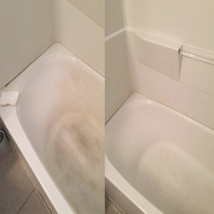 before: dirty tub after: clean tub