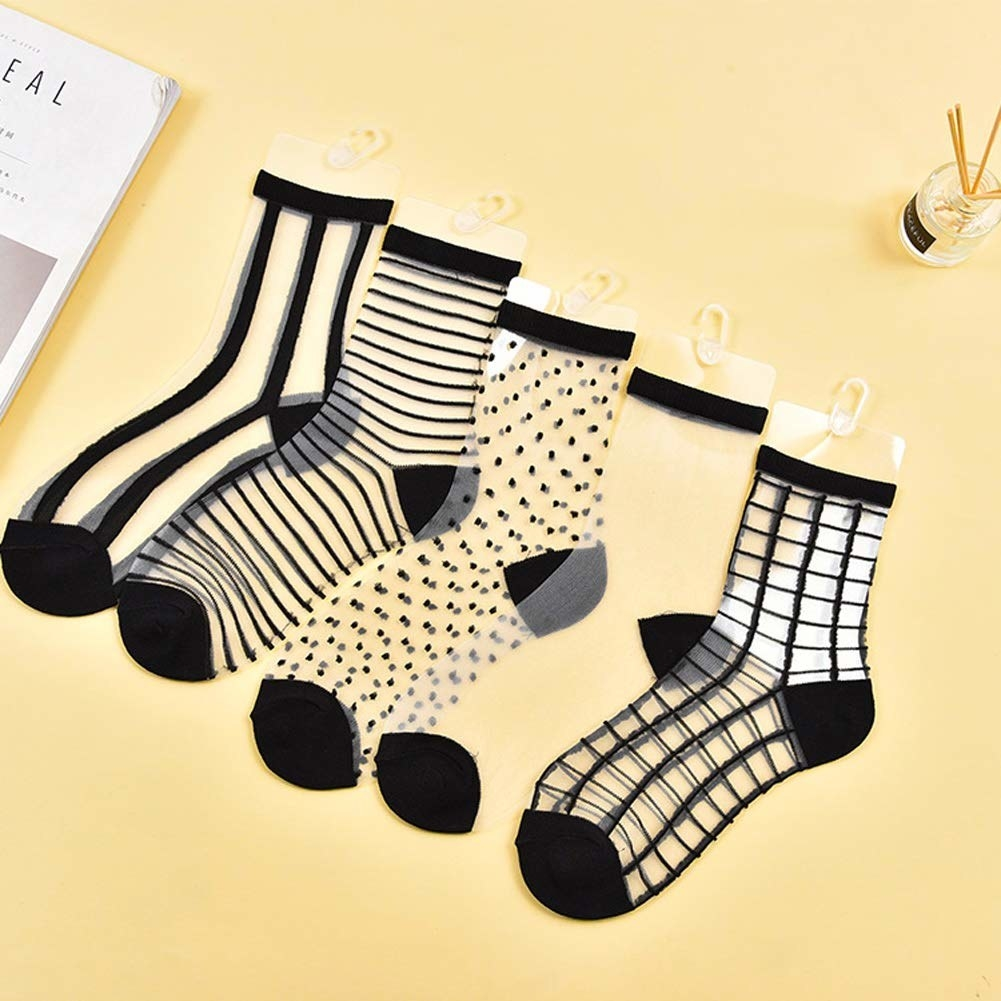 The five designs, including thick vertical stripes, thin horizontal stripes, polka-dots, plain sheer, and grid prints
