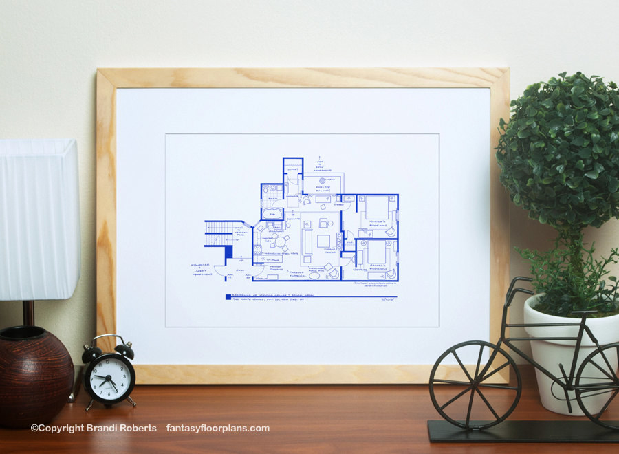 an art print with a floor plan of monica's apartment from friends