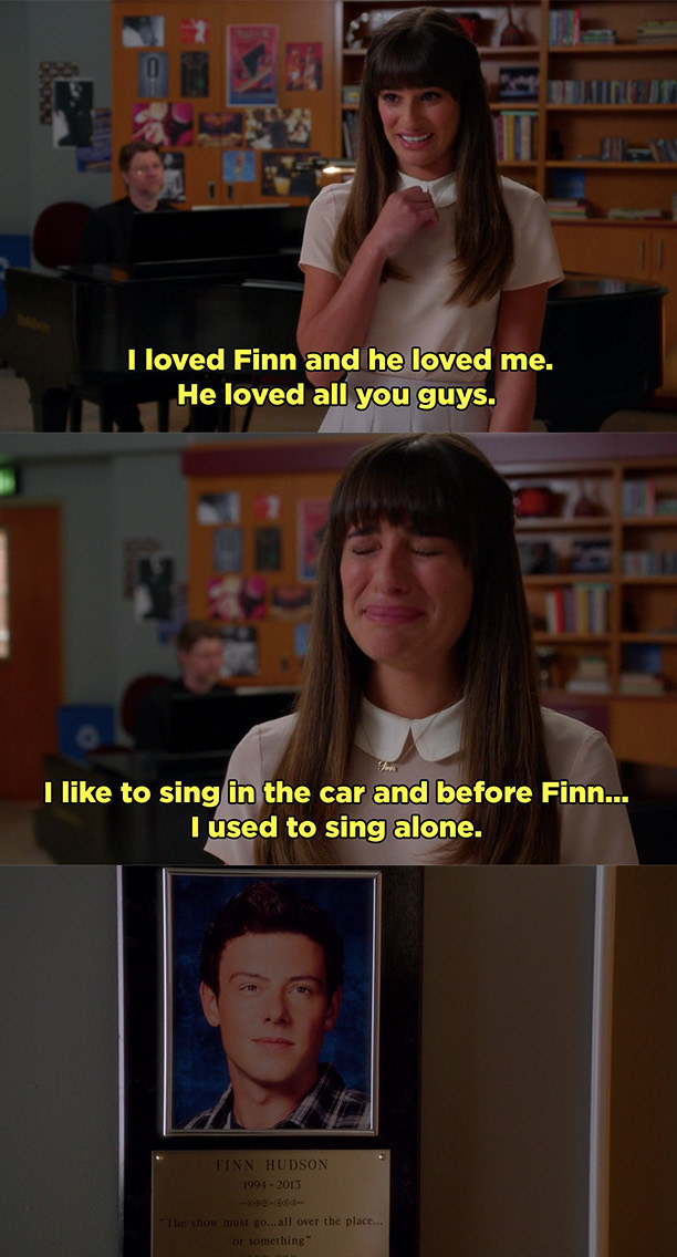 Rachel telling the glee club that she loved Finn and he loved them very much.