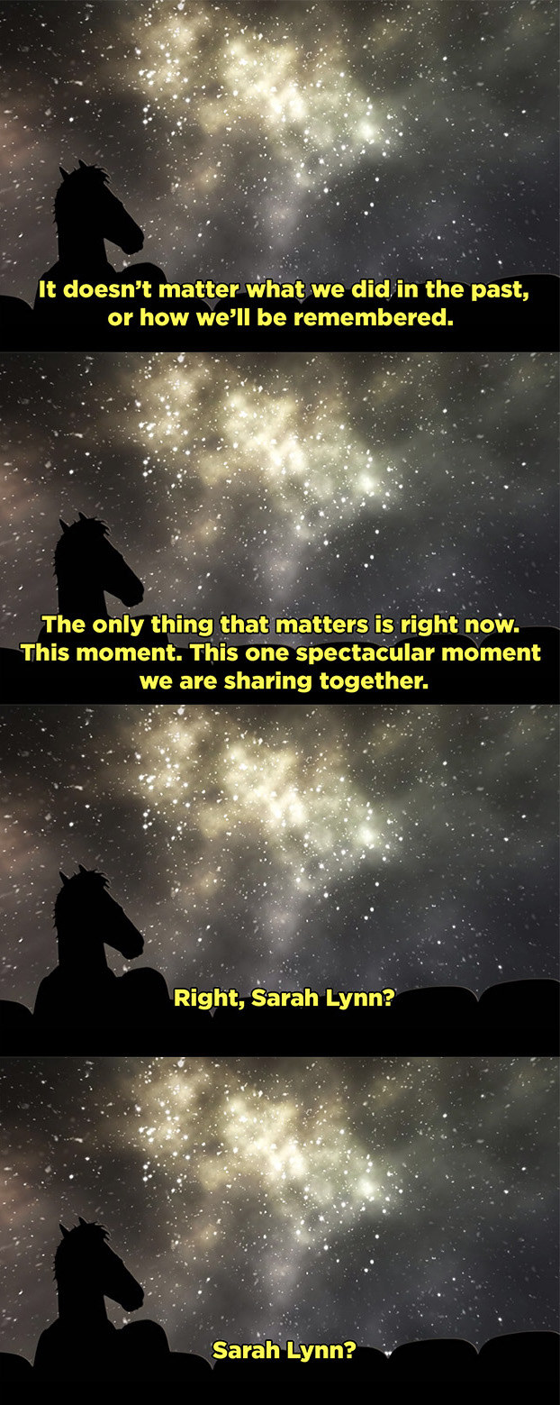 BoJack and Sarah are sitting and staring at the stars. He tells her that the only things that matter is this moment they're sharing together, not their mistakes or the things they'll be remembered for; then she dies