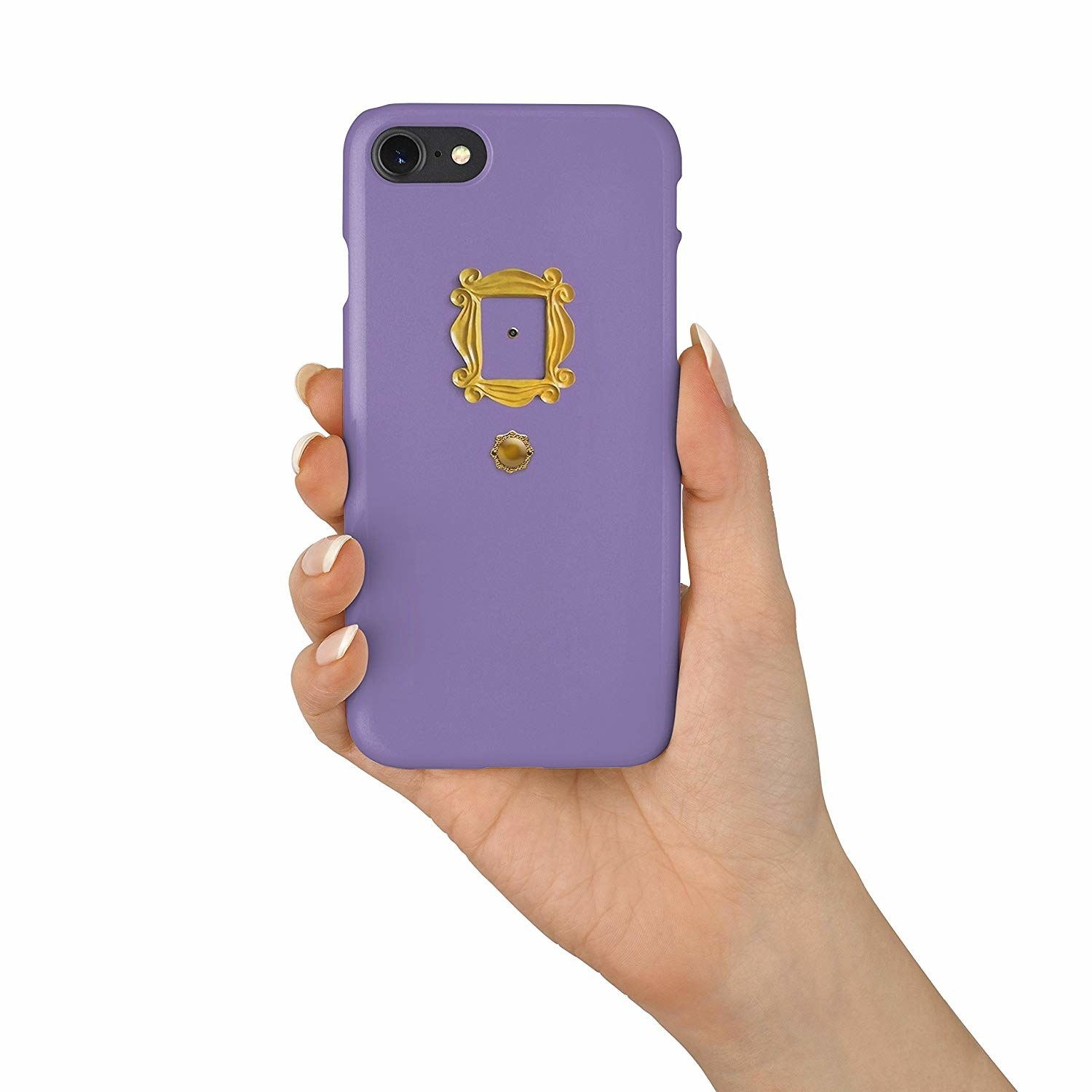 a purple phone case that looks like monica's door