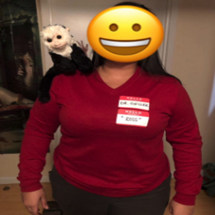 a reviewer dressed as ross with the monkey on their shoulder