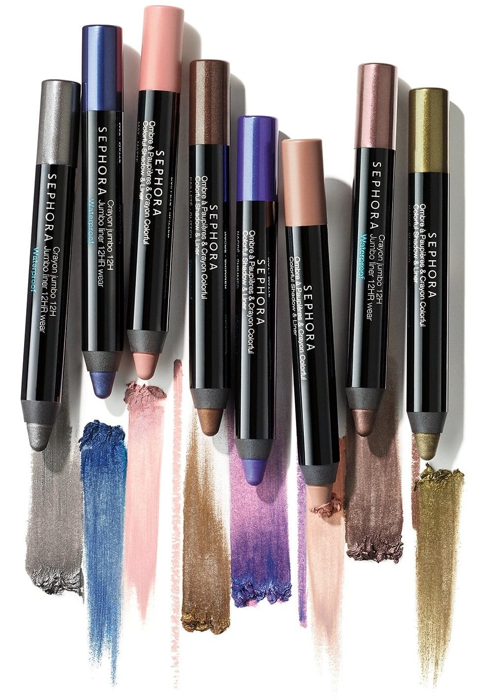 eight colorful shades of the eyeshadow stick
