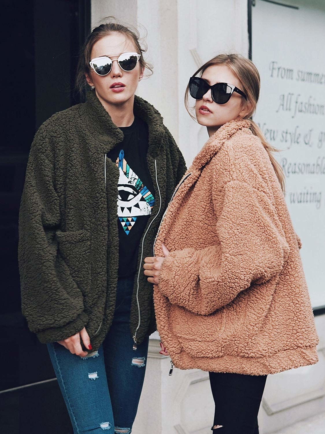Two models in the jackets: one in green and one in light brown