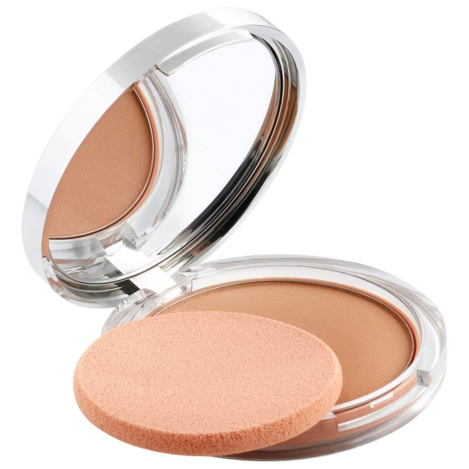 pressed powder in compact with mirror and thin sponge applicator