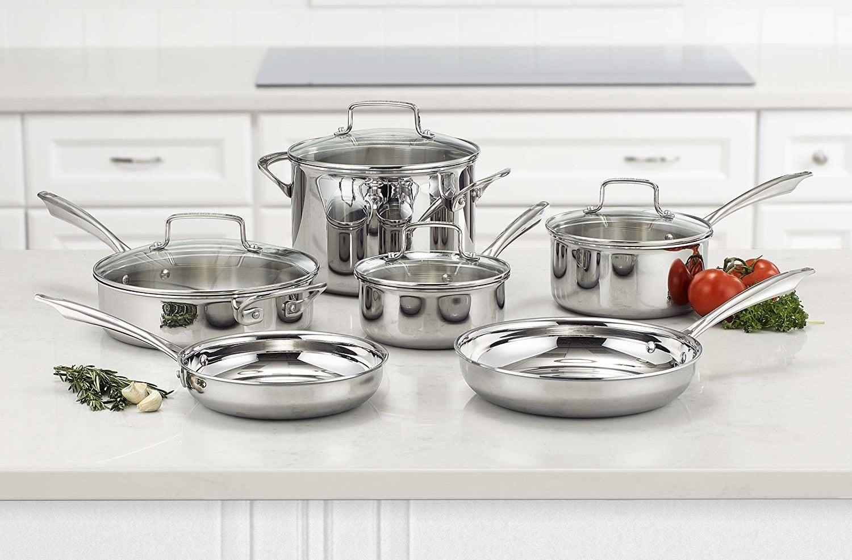 The ten-piece stainless steel cookware set