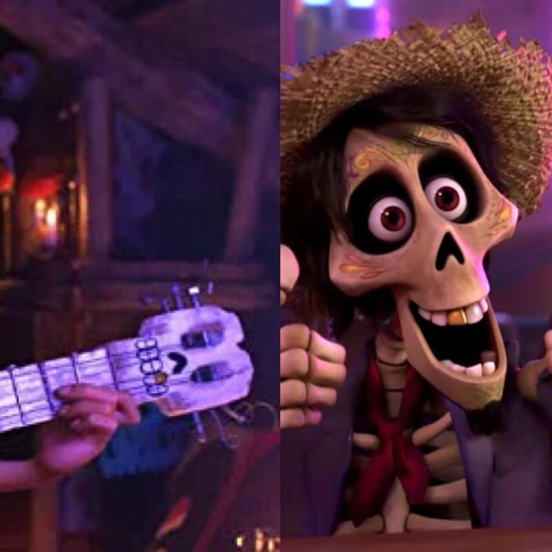 A split comparing the neck of the white guitar which has a skull detail with a gold tooth to Hector who also has a gold tooth