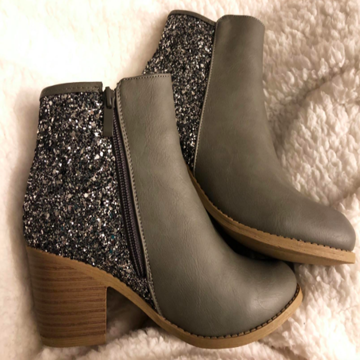 The gray booties. The back half is glittery