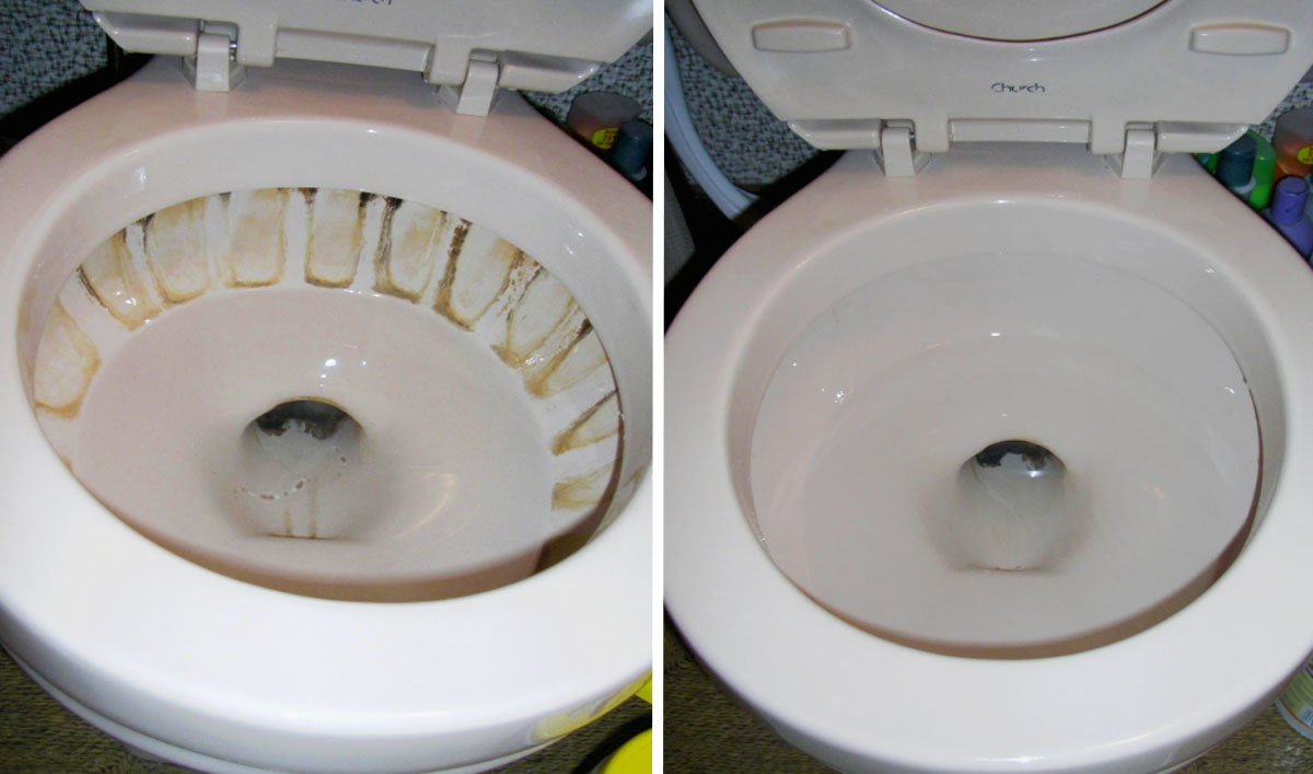 a before and after of a dirty to clean toilet bowl